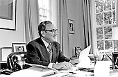 Portrait of Doctor Henry A. Kissinger taken in Washington, D.C. on September 21, 1973.  This photo was taken the day before Kissinger, who served as National Security Advisor to United States President Richard M. Nixon, was sworn-in as United States Secretary of State.  He held both positions until November 3, 1975, serving President Nixon and United States President Gerald R. Ford.<br /> Credit: White House via CNP
