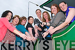 Taking the train: Cracking open the bubbly at Siobhan Hanley's hen party which began at the Lartigue Monorail in Listowel on Saturday afternoon, from l-r Elaine Carty, Mary Hanlon, Catriona Hanley, Davina O'Connell, Ellen McGlynn, bride to be Siobhan, chief bridesmaid Mairead Hanley and Bett O'Sullivan..   Copyright Kerry's Eye 2008