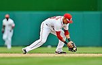 12 April 2012: Washington Nationals shortstop Ian Desmond in action against the Cincinnati Reds at Nationals Park in Washington, DC. The Nationals defeated the Reds 3-2 in 10 innings to take the first game of their 4-game series. Mandatory Credit: Ed Wolfstein Photo