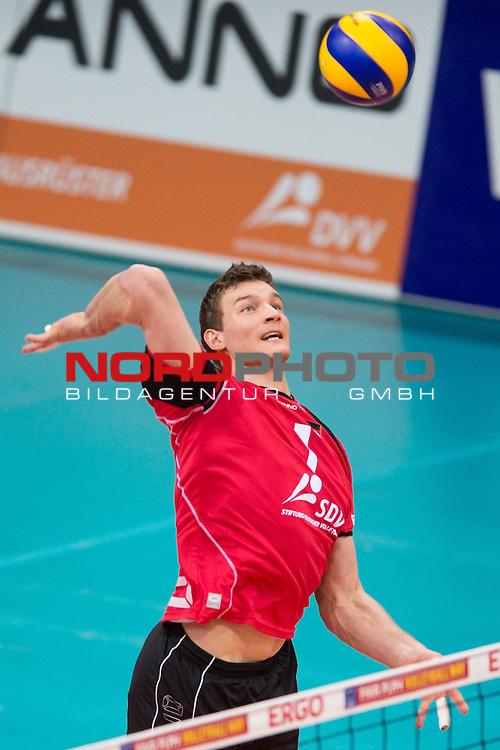 03.01.2014, MHP Arena, Ludwigsburg<br /> Volleyball, Qualifikation WM 2014, Deutschland vs. Kroatien<br /> <br /> Angriff Christian Fromm (#1 GER)<br /> <br />   Foto &copy; nordphoto / Kurth