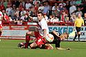James Dunne of Stevenage is tackled by Harry Davis of Crewe. Stevenage v Crewe Alexandra - npower League 1 -  Lamex Stadium, Stevenage - 15th September, 2012. © Kevin Coleman 2012.