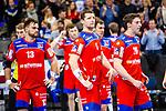 Enttaeuscht: Team des HBW Balingen-Weilstetten / Romas Kirveliavicius (HBW Balingen-Weilstetten #5) ; Lukas Saueressig (HBW Balingen-Weilstetten #26) ; Benjamin Meschke (HBW Balingen-Weilstetten #13) beim Spiel in der Handball Bundesliga, TVB 1898 Stuttgart - HBW Balingen-Weilstetten.<br /> <br /> Foto © PIX-Sportfotos *** Foto ist honorarpflichtig! *** Auf Anfrage in hoeherer Qualitaet/Aufloesung. Belegexemplar erbeten. Veroeffentlichung ausschliesslich fuer journalistisch-publizistische Zwecke. For editorial use only.