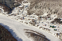 Aerial photo of the village of Takotna with several dog teams resting on Thursday during Iditarod 2008