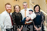 Baby Finn Prendiville with his parents Mairead Shore & Robert Prendiville, Listowel and god parents Patrick O'Hanlon & Gemma Purcell who was christened in Myvane church by Fr. Kevin McNamara on Saturday last and afterwards at the Listowel Arms Hotel.