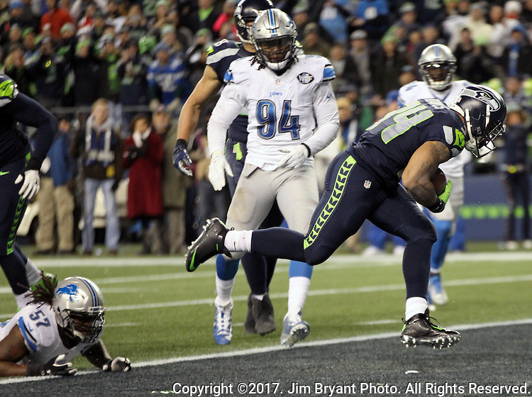 in a Wild Card round of the NFL playoffs at CenturyLink Field in Seattle, Washington on January 7, 2017.  The Seahawks beat the Lions 26 to 6 to advance in the playoffs.  ©2017.  Jim Bryant Photo. All Rights reserved.