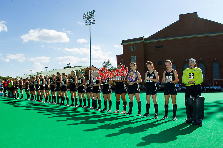 The Wake Forest Demon Deacons lineup for player introductions prior to the match against the Liberty Flames at Kentner Stadium on September 13, 2013 in Winston-Salem, North Carolina.  The Demon Deacons defeated the Flames 3-2.  (Brian Westerholt / Sports On Film)
