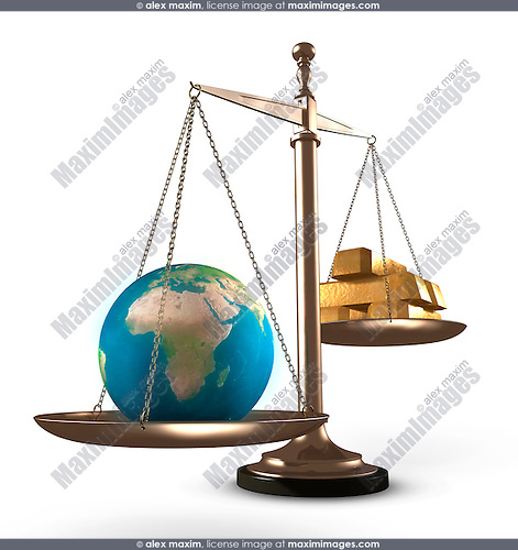 The Earth outweighing bars of gold on scales Conceptual 3D Illustration Isolated Silhouette on white background