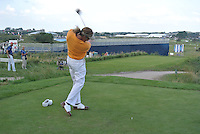 Miguel Angel Jimenez (ESP) on the 10th tee during Round 2 of the KLM Open at Kennemer Golf &amp; Country Club on Friday 12th September 2014.<br /> Picture:  Thos Caffrey / www.golffile.ie