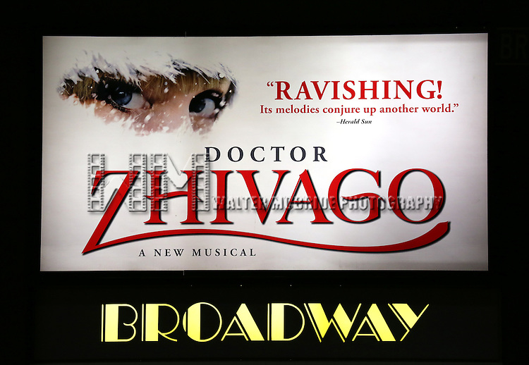 Theatre Marquee for the Broadway Opening Night Performance of 'Doctor Zhivago' at The Broadway Theatre on April 21, 2015 in New York City.