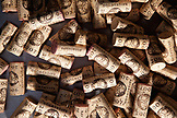 USA, California, Sonoma, a pile of corks on a steel table, Ravenswood winery and vineyard