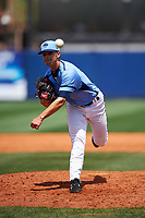 Charlotte Stone Crabs relief pitcher Greg Maisto (28) delivers a pitch during a game against the Lakeland Flying Tigers on April 16, 2017 at Charlotte Sports Park in Port Charlotte, Florida.  Lakeland defeated Charlotte 4-2.  (Mike Janes/Four Seam Images)