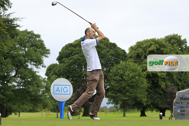 Michael Haran (Tubbercurry) on the 1st tee during the AIG Jimmy Bruen Shield Semi-Finals of the AIG Connacht Cups &amp; Shields Finals 2016 at Ballinrobe Golf Club, Ballinrobe Co. Mayo on Friday 5th August 2016.<br /> Picture:  Golffile | Thos Caffrey<br /> <br /> All photos usage must carry mandatory copyright credit   (&copy; Golffile | Thos Caffrey)