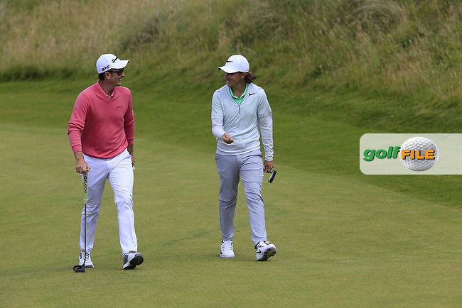 Justin Rose and Tommy Fleetwood (ENG) walk up to the 2nd green during Saturday's Round 3 of the 2017 Dubai Duty Free Irish Open held at Portstewart Golf Club, Portstewart, Co Derry, Northern Ireland. 08/07/2017<br /> Picture: Golffile | Eoin Clarke<br /> <br /> <br /> All photo usage must carry mandatory copyright credit (&copy; Golffile | Eoin Clarke)
