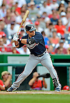 22 July 2012: Atlanta Braves outfielder Martin Prado in action against the Washington Nationals at Nationals Park in Washington, DC. The Braves fell to the Nationals 9-2 splitting their 4-game weekend series. Mandatory Credit: Ed Wolfstein Photo