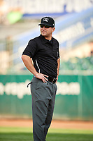 First base umpire Phil Bando before the game between the Ogden Raptors and the Great Falls Voyagers at Lindquist Field on August 16, 2017 in Ogden, Utah. The Voyagers defeated the Raptors 11-6. (Stephen Smith/Four Seam Images)