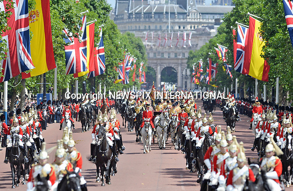 12.07.2017, London; UK: KING FELIPE AND QUEEN LETIZIA OF SPAIN<br />after a stormy arrival yesterday, the Royal couple enjoy a sunny day for their ceremonial welcome at the start of their 3-day State Visit.<br />Queen Elizabeth officially welcomed the Spanish Royals with a ceremony at Horse Guards.<br />Mandatory Credit Photo: &copy;MoD/NEWSPIX INTERNATIONAL<br /><br />IMMEDIATE CONFIRMATION OF USAGE REQUIRED:<br />Newspix International, 31 Chinnery Hill, Bishop's Stortford, ENGLAND CM23 3PS<br />Tel:+441279 324672  ; Fax: +441279656877<br />Mobile:  07775681153<br />e-mail: info@newspixinternational.co.uk<br />*All fees payable to Newspix International*