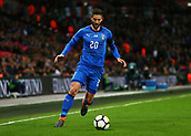 27th March 2018, Wembley Stadium, London, England; International Football Friendly, England versus Italy; Roberto Gagliardini of Italy on the ball