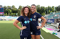 Cary, North Carolina  - Saturday June 17, 2017: Elizabeth Eddy and Stephanie Ochs prior to a regular season National Women's Soccer League (NWSL) match between the North Carolina Courage and the Boston Breakers at Sahlen's Stadium at WakeMed Soccer Park. The Courage won the game 3-1.