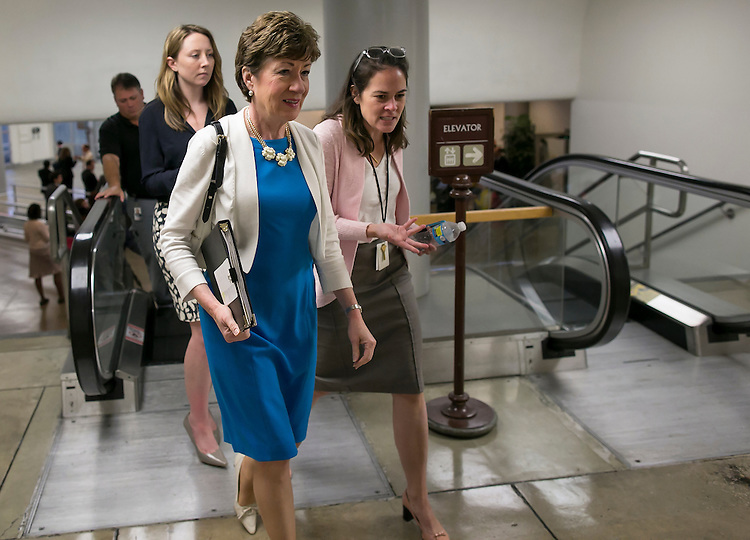 UNITED STATES - JULY 21: Sen. Susan Collins, R-Maine, heads to the weekly Senate Republicans' policy luncheon on Capitol Hill on Tuesday, July 21, 2015. (Photo By Al Drago/CQ Roll Call)