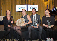 "December 08, 2014, Amsterdam, Amstel Hotel, Tennis Player off the Year Awards, l.t.r.: The mother of Tim van Rijthoven receives the black tulip for promising player in his absence, Kiki Bertens women player off the year, Robin Haase men""s player off the year and Aniek van Koot wheelchair player off the year.<br /> <br /> Photo: Henk Koster"