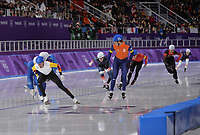 OLYMPIC GAMES: PYEONGCHANG: 24-02-2018, Gangneung Oval, Long Track, Mass Start Men, Bart Swings (BEL), Sven Kramer (NED), ©photo Martin de Jong