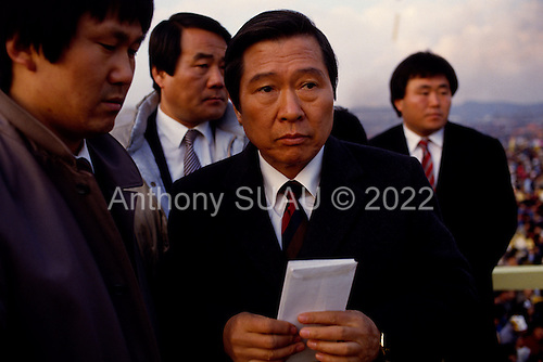 Inchon, South Korea<br /> December 8 1987<br /> <br /> Kim Dea-jong, the opposition leader to the ruling party campaigning during the South Korean presidential elections. <br /> <br /> Kim Dae-jung (3 December 1925 to 18 August 2009) was President of South Korea from 1998 to 2003, and the 2000 Nobel Peace Prize recipient. As of this date Kim is the first and only Nobel laureate to hail from Korea. A Roman Catholic since 1957, he has been called the &quot;Nelson Mandela of Asia&quot; for his long-standing opposition to authoritarian rule.