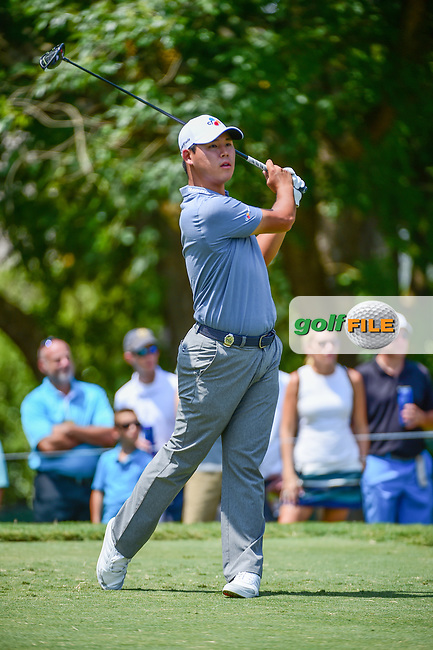 Si Woo Kim (KOR) watches his tee shot on 5 during Thursday's round 1 of the PGA Championship at the Quail Hollow Club in Charlotte, North Carolina. 8/10/2017.<br /> Picture: Golffile | Ken Murray<br /> <br /> <br /> All photo usage must carry mandatory copyright credit (&copy; Golffile | Ken Murray)