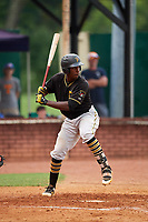 Bristol Pirates third baseman Sherten Apostel (47) at bat during a game against the Elizabethton Twins on July 29, 2018 at Joe O'Brien Field in Elizabethton, Tennessee.  Bristol defeated Elizabethton 7-4.  (Mike Janes/Four Seam Images)