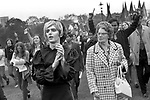 The Gay Liberation Front demonstrated against the Nationwide Festival of Light, older woman angry with man dressed as a young woman Hyde Park, rally September 1971 1970s