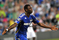 Birahim Diop celebrates his second goal...Kansas City Wizards defeated New England Revolution 4-1 at Community America Ballpark, Kansas City , Kansas.