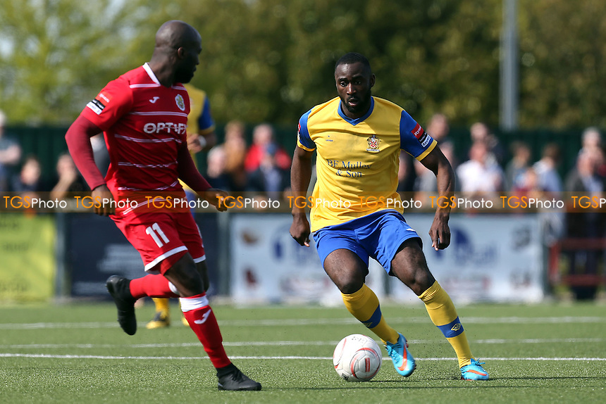 Tambeson Eyong of AFC Hornchurch and Junior Dadson of Harlow Town during Harlow Town vs AFC Hornchurch, Ryman League Divison 1 North Play-Off Final Football at The Harlow Arena on 1st May 2016