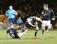 Craig Sibbald makes last ditch tackle one Calum Gallagher in the St Mirren v Falkirk Scottish Professional Football League Ladbrokes Championship match played at the Paisley 2021 Stadium, Paisley on 1.3.16.