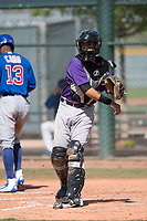 Colorado Rockies catcher Franklin Garcia (70) during a Minor League Spring Training game against the Chicago Cubs at Sloan Park on March 27, 2018 in Mesa, Arizona. (Zachary Lucy/Four Seam Images)