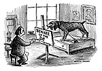 """(An artist uses a growling dog for a model as he paints a """"beware of the dog"""" sign)"""