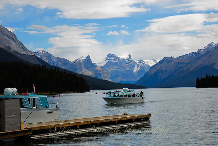 Tour boats on Maligne Lake Jasper National Park