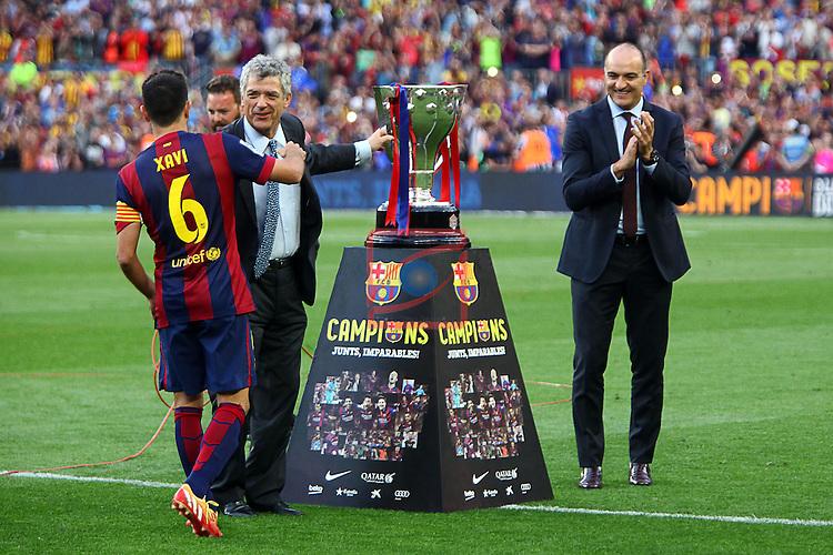 League BBVA 2014/2015. Game: 38.<br /> FC Barcelona vs Deportivo: 2-2.<br /> Xavi Hernandez, Villar &amp; Andreu Subies.