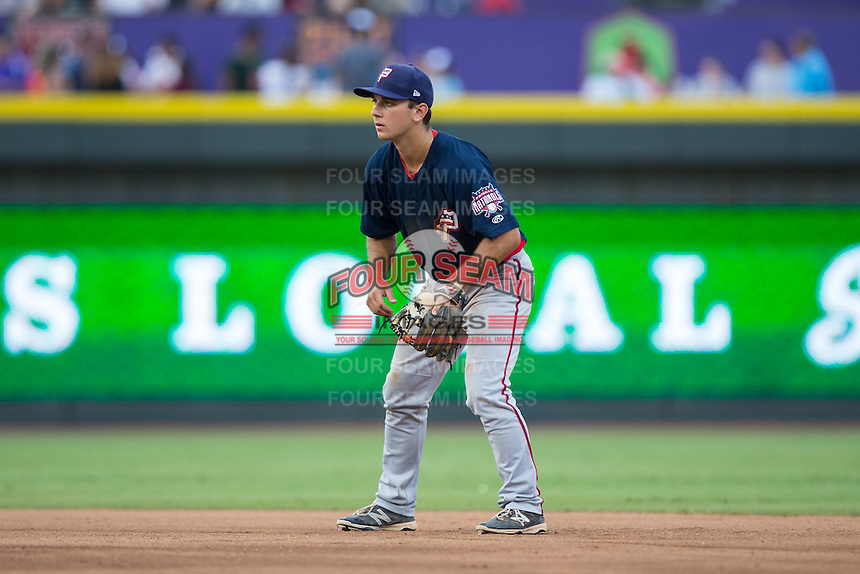 Potomac Nationals second baseman Max Schrock (1) on defense against the Winston-Salem Dash at BB&T Ballpark on July 15, 2016 in Winston-Salem, North Carolina.  The Dash defeated the Nationals 10-4.  (Brian Westerholt/Four Seam Images)