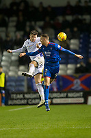 23rd November 2019; Caledonian Stadium, Inverness, Scotland; Scottish Championship Football, Inverness Caledonian Thistle versus Dundee Football Club; Josh Meekings of Dundee competes in the air with Jordan White of Inverness Caledonian Thistle  - Editorial Use