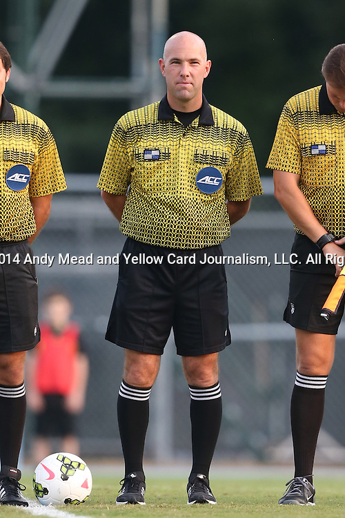 29 August 2014: Referee Brent Sorg. The University of North Carolina Tar Heels hosted the University of California Bears at Fetzer Field in Chapel Hill, NC in a 2014 NCAA Division I Men's Soccer match. North Carolina won the game 3-1.