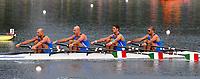 L'equipaggio italiano del 4 di coppia  Luca Agamennoni, Simone Venier, Rossano Galtarossa, Simone Raineri, vincitore della medaglia d'argento.<br /> Durante la regata<br /> Sy Rowing - Canoeing Park<br /> Pechino - Beijing 17/8/2008 Olimpiadi 2008 Olympic Games<br /> Foto Andrea Staccioli Insidefoto