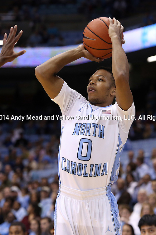 07 November 2014: North Carolina's Nate Britt. The University of North Carolina Tar Heels played the Belmont Abbey College Crusaders in an NCAA Division I Men's basketball exhibition game at the Dean E. Smith Center in Chapel Hill, North Carolina. UNC won the game 112-34.