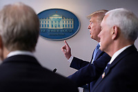 United States President Donald J. Trump makes remarks on the Coronavirus crisis in the Brady Press Briefing Room of the White House in Washington, DC on Saturday, March 21, 2020.<br /> Credit: Stefani Reynolds / Pool via CNP/AdMedia