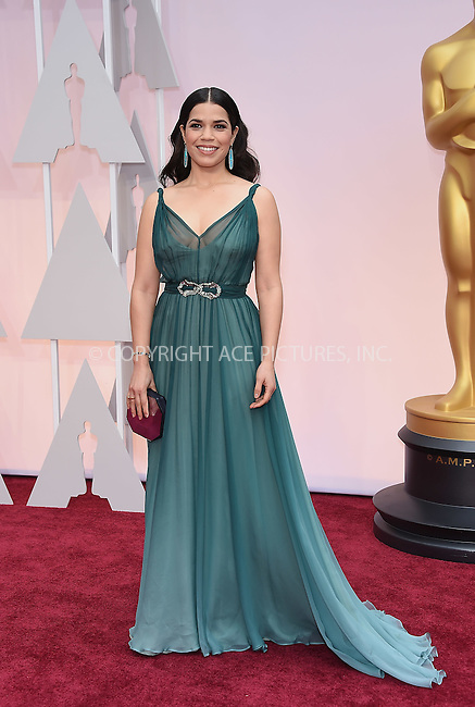 WWW.ACEPIXS.COM<br /> <br /> February 22 2015, LA<br /> <br /> America Ferrera arriving at the 87th Annual Academy Awards at the Hollywood &amp; Highland Center on February 22, 2015 in Hollywood, California.<br /> <br /> By Line: Z15/ACE Pictures<br /> <br /> <br /> ACE Pictures, Inc.<br /> tel: 646 769 0430<br /> Email: info@acepixs.com<br /> www.acepixs.com