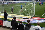 Preston North End 1 Reading 0, 19/08/2017. Deepdale, Championship. Young fans watching the home team warming up before Preston North End take on Reading in an EFL Championship match at Deepdale. The home team won the match 1-0, Jordan Hughill scoring the only goal after 22nd minutes, watched by a crowd of 11,174. Photo by Colin McPherson.