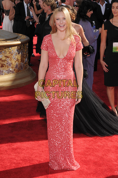 ANNA TORV.Arrivals at the 61st Primetime Emmy Awards held at Te Nokia Theater in Los Angeles, California, USA..September 20st, 2009     .emmys full leength pink red dress cleavage low cut neckline sparkly.CAP/DVS.©Debbie VanStory/Capital Pictures.
