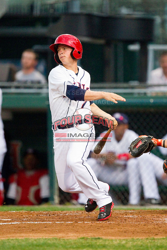 Tony Renda (7) of the Hagerstown Suns follows through on his swing against the Delmarva Shorebirds at Municipal Stadium on April 11, 2013 in Hagerstown, Maryland.  The Shorebirds defeated the Suns 7-4 in 10 innings.  (Brian Westerholt/Four Seam Images)