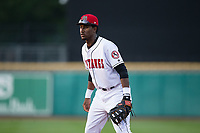 Billings Mustangs first baseman Montrell Marshall (29) on defense against the Missoula Osprey at Dehler Park on August 21, 2017 in Billings, Montana.  The Osprey defeated the Mustangs 10-4.  (Brian Westerholt/Four Seam Images)