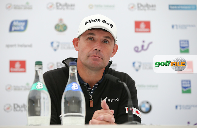 Padraig Harrington (IRL) becomes ambassador for live scoring Club App in media interview during Tuesday's practice round ahead of the 2016 Dubai Duty Free Irish Open Hosted by The Rory Foundation which is played at the K Club Golf Resort, Straffan, Co. Kildare, Ireland. 17/05/2016. Picture Golffile | David Lloyd.<br /> <br /> All photo usage must display a mandatory copyright credit as: &copy; Golffile | David Lloyd.