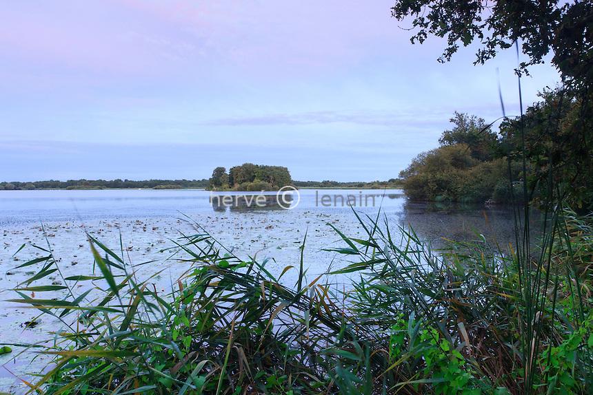 France, Indre (36), parc naturel régional de la Brenne, Rosnay, l'étang du Blizon le soir // France, Indre, Natural Parc of the Brenne, Rosnay, the pond of Blizon in the evening