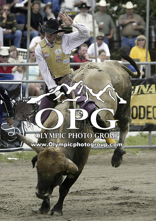 "29 August, 2004:  PRCA Rodeo Bull Rider Wesley Silcox ranked 39th in the world riding the bull ""Good Show"" during the PRCA 2004 Extreme Bulls competition in Bremerton, WA."